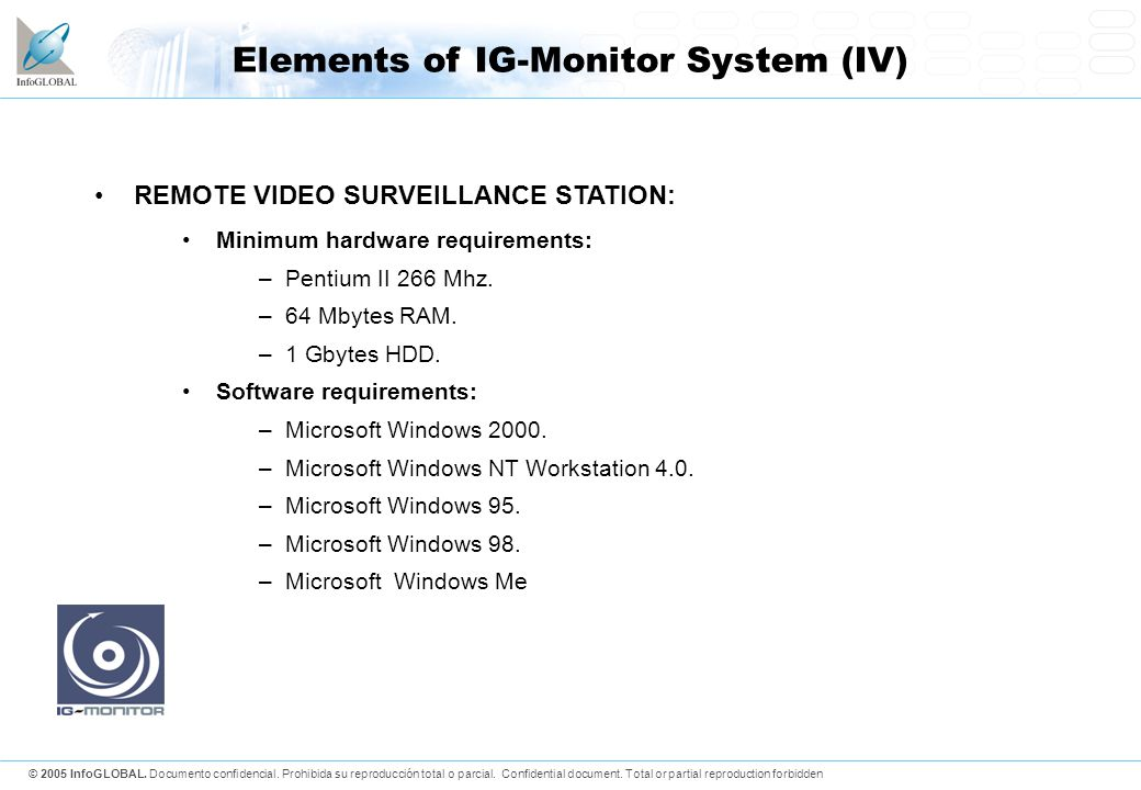 Elements of IG-Monitor System (IV)