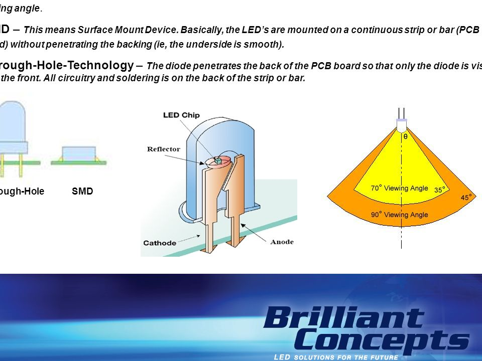 Viewing Angle – LED is a very directional light source and some diodes can be made with a narrow or wide viewing angle.