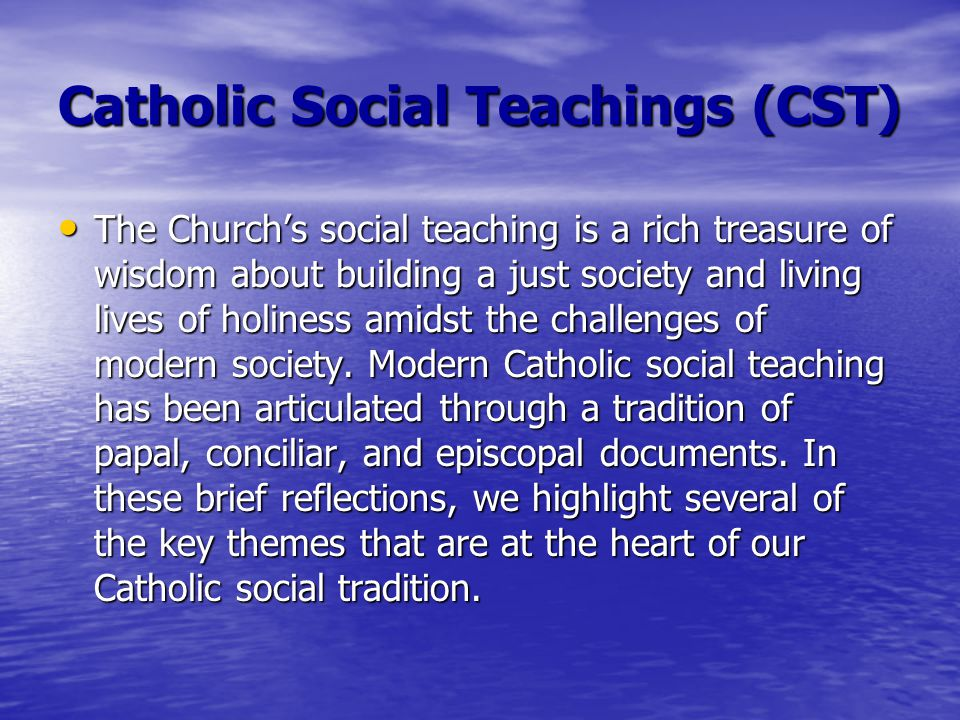 the catholic social teaching There is not as much about social justice in leviticus as there is about sexual morality or is there we ought to be more aware, after all, that sexuality lies at the very root of the social.