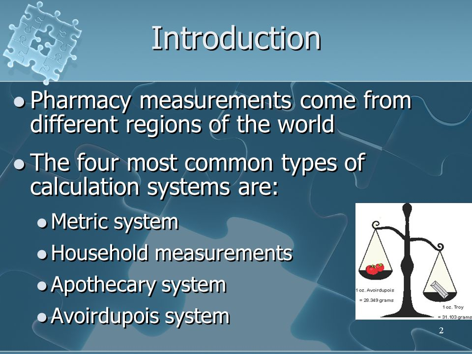 Introduction Pharmacy measurements come from different regions of the world. The four most common types of calculation systems are:
