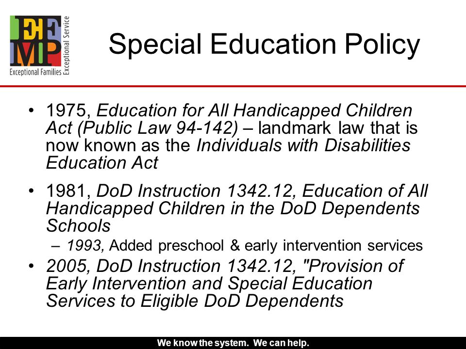 special instruction early intervention