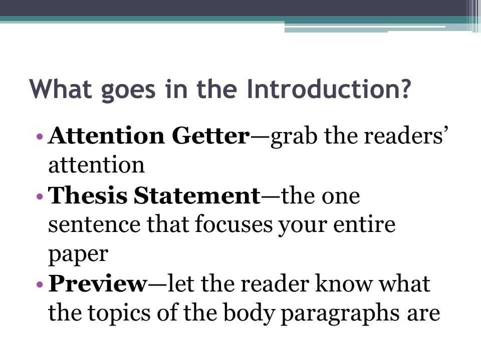 a good thesis introduction Summary: a good introductory paragraph 1 gets your reader's attention, 2 introduces your topic, and 3 presents your stance on the topic (thesis) links: ucsb – the introductory paragraph capital community college – introductory paragraphs unc writing center right after your title is the introductory paragraph.