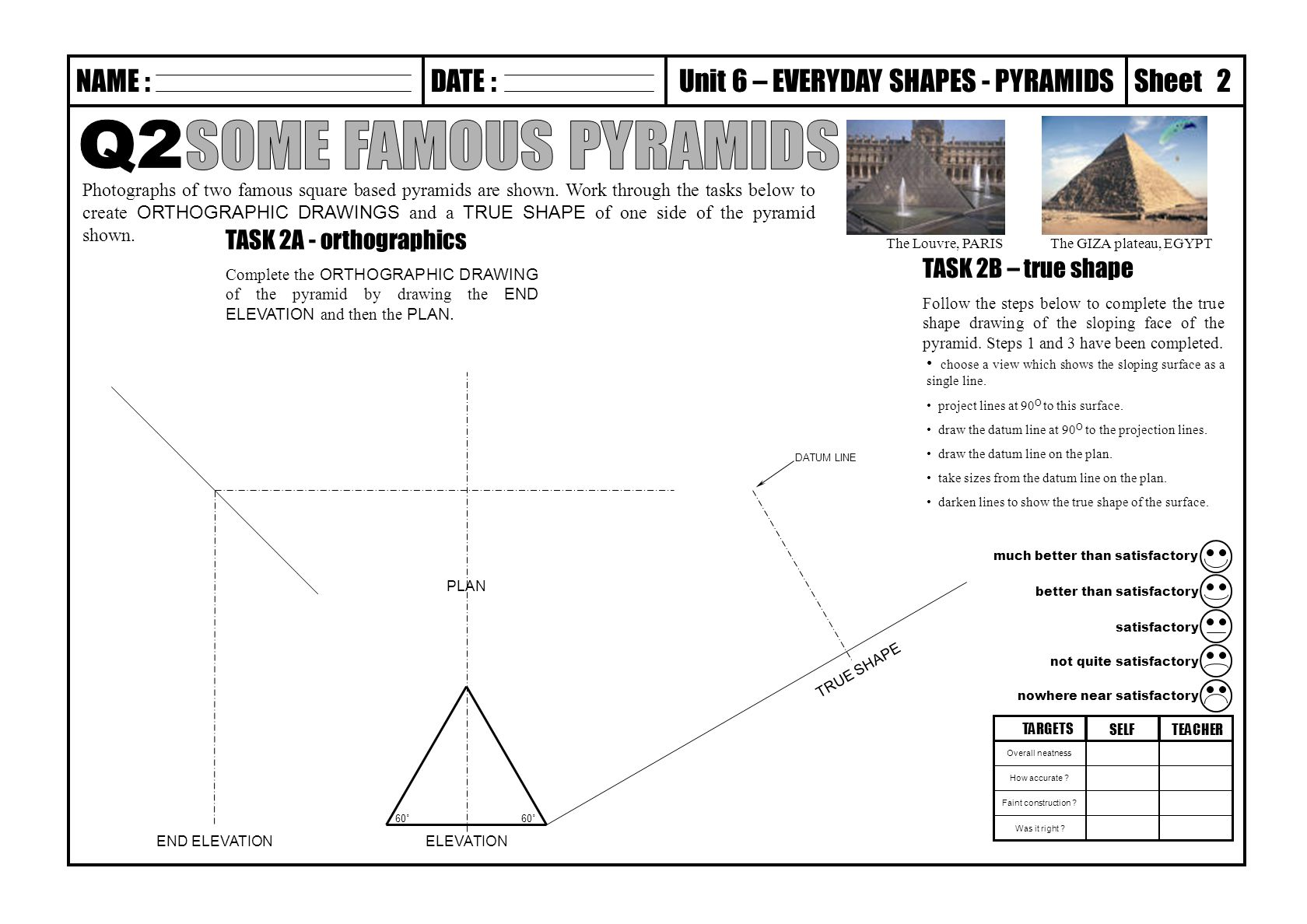 Technical Graphics Elevation Plan End View : Q some famous pyramids task a orthographics b