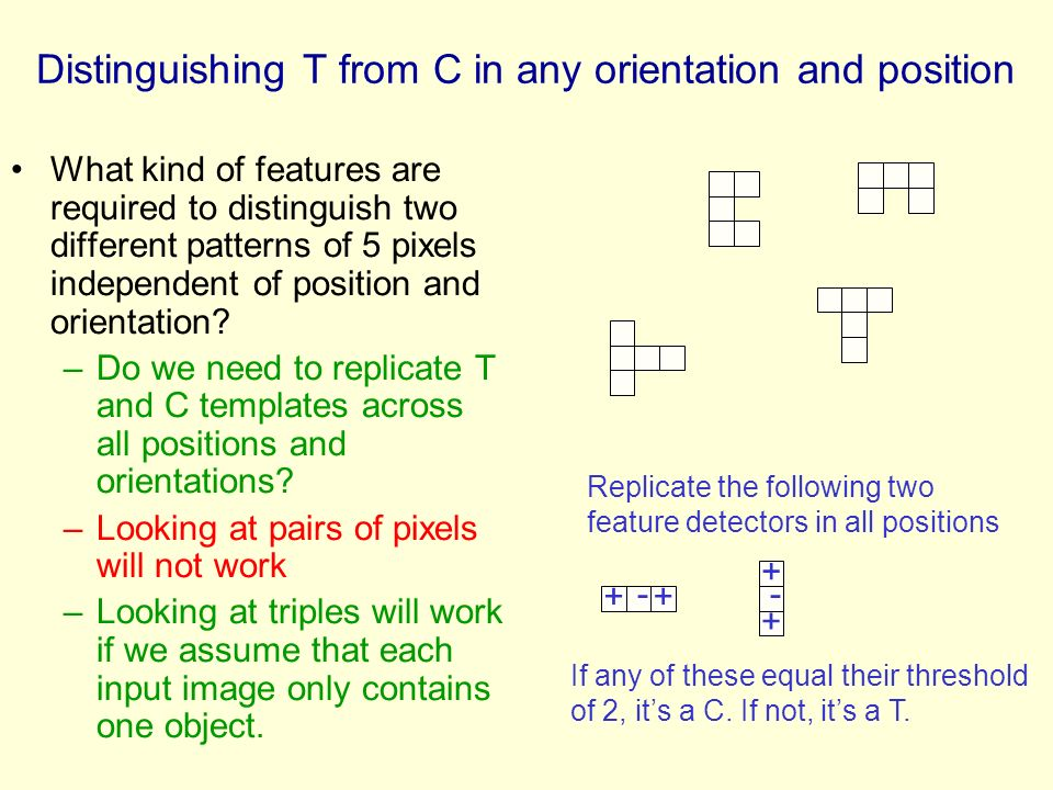 Distinguishing T from C in any orientation and position