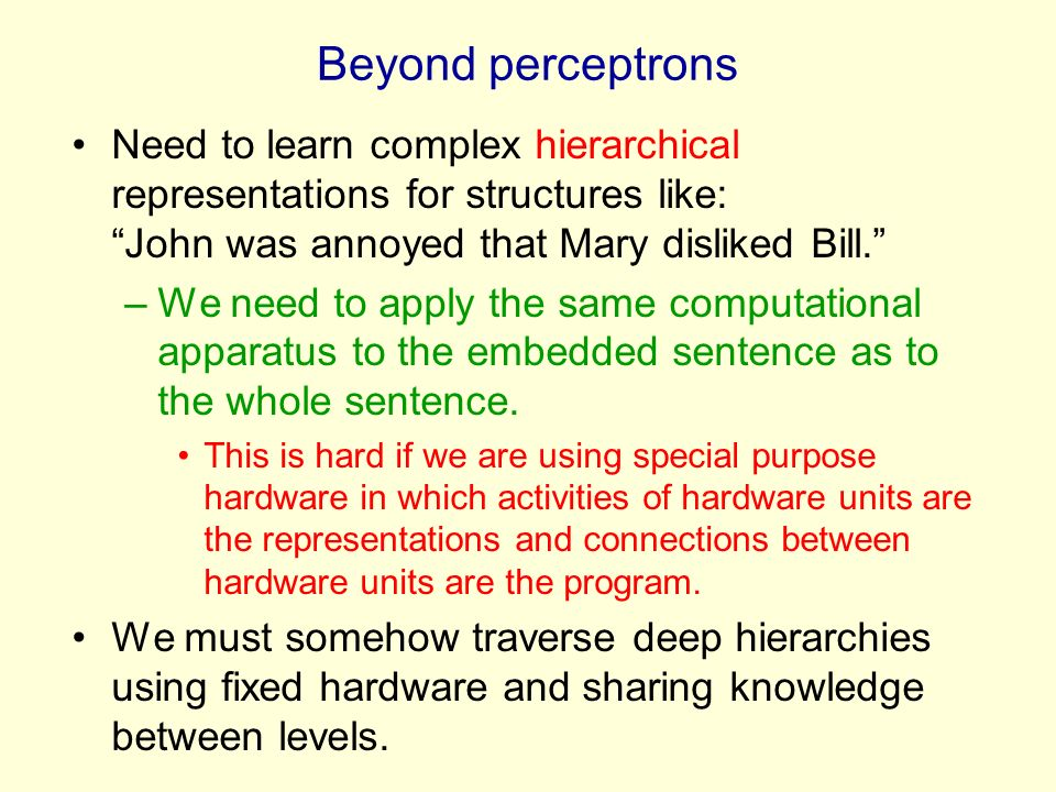 Beyond perceptrons Need to learn complex hierarchical representations for structures like: John was annoyed that Mary disliked Bill.