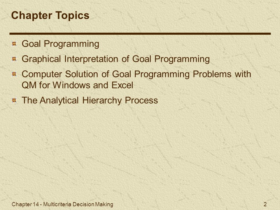 Chapter Topics Goal Programming