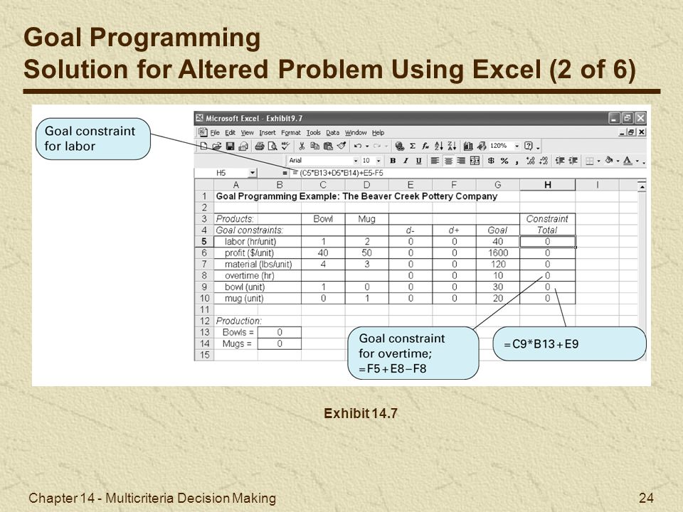 Solution for Altered Problem Using Excel (2 of 6)