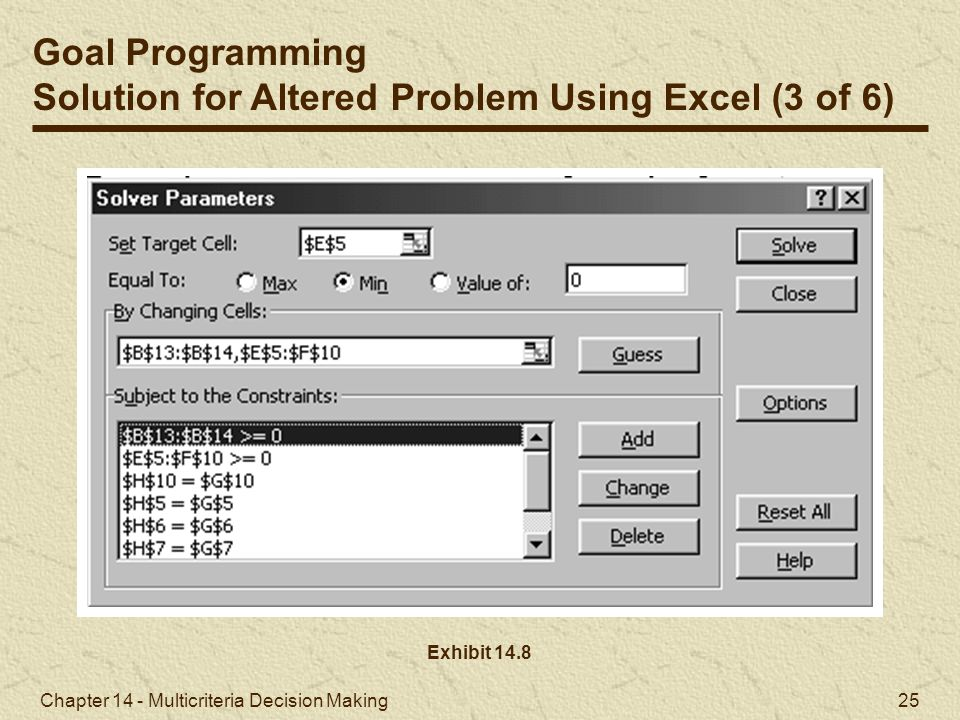 Solution for Altered Problem Using Excel (3 of 6)