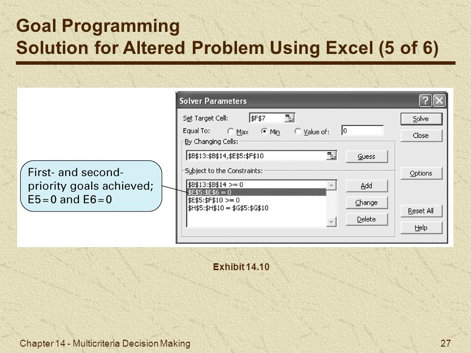 Solution for Altered Problem Using Excel (5 of 6)