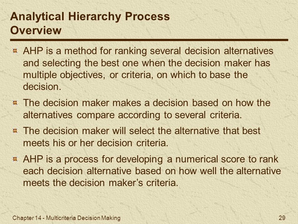 Analytical Hierarchy Process Overview