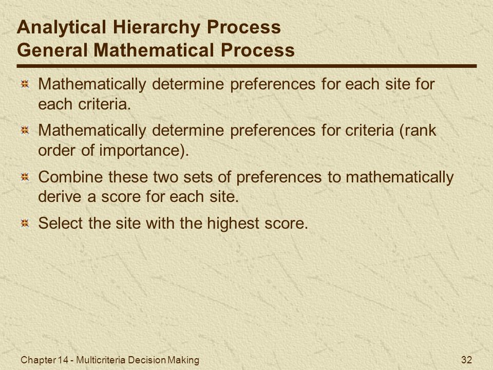 Analytical Hierarchy Process General Mathematical Process