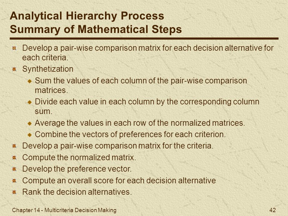 Analytical Hierarchy Process Summary of Mathematical Steps
