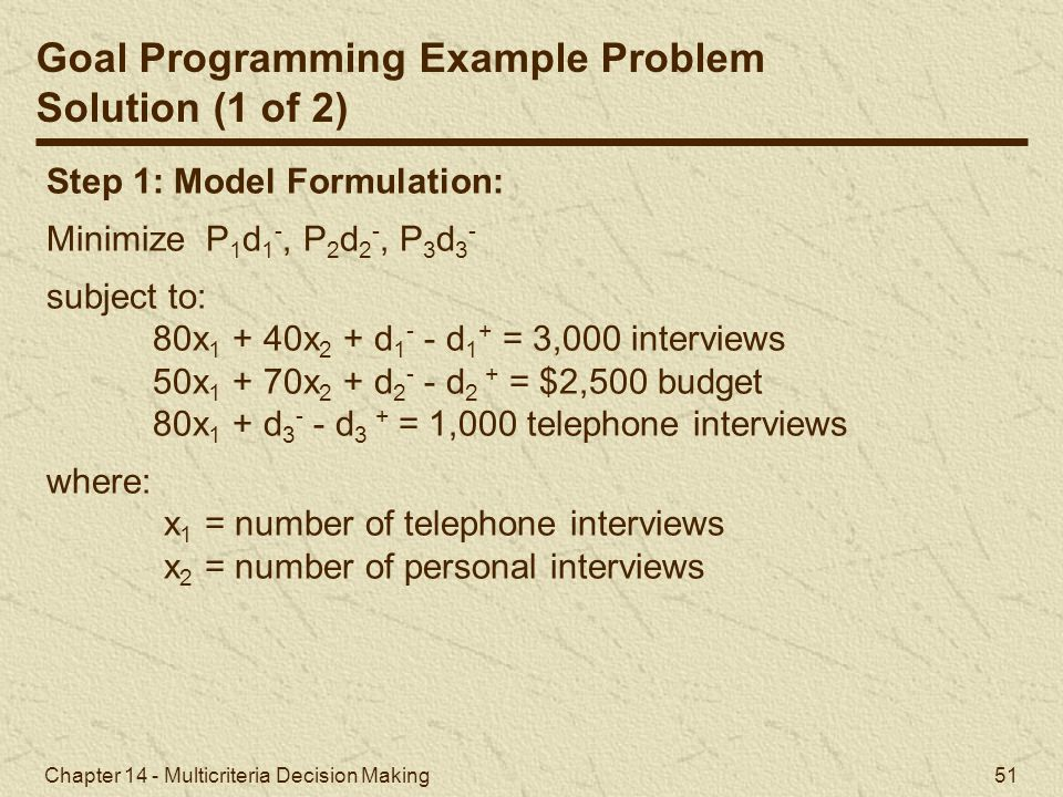 Goal Programming Example Problem Solution (1 of 2)
