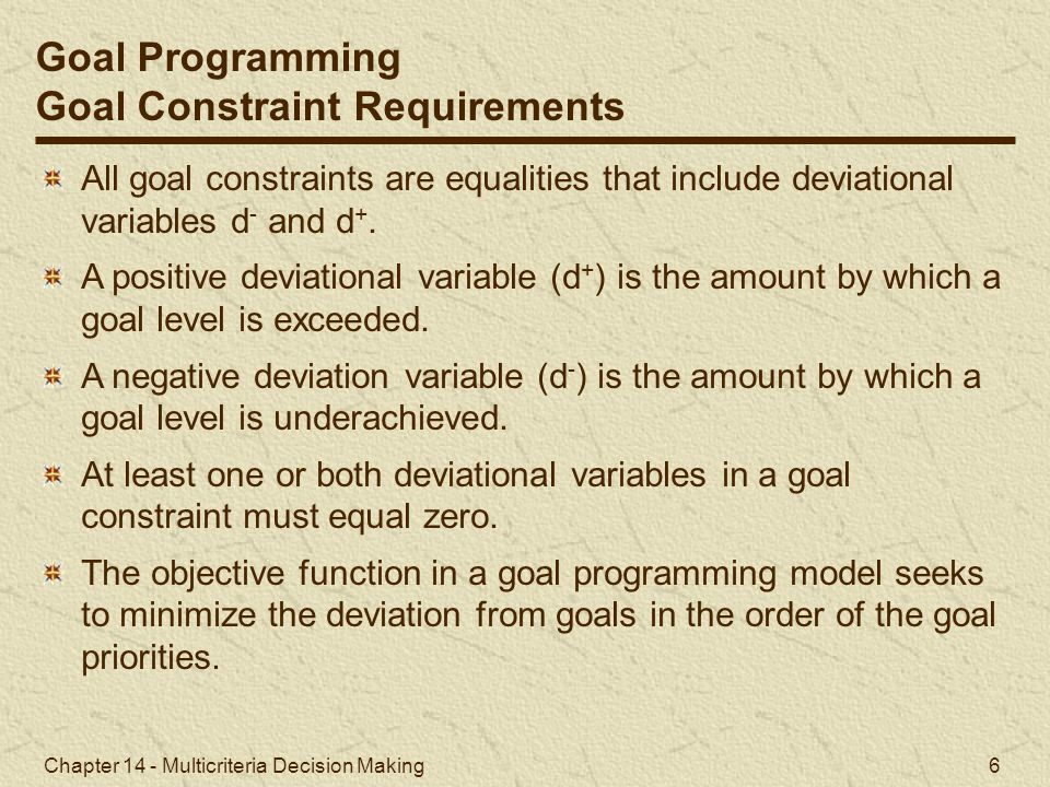 Goal Constraint Requirements