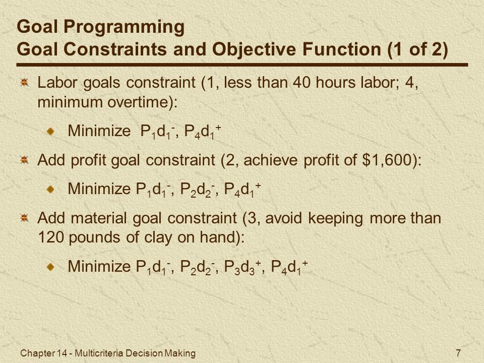 Goal Constraints and Objective Function (1 of 2)