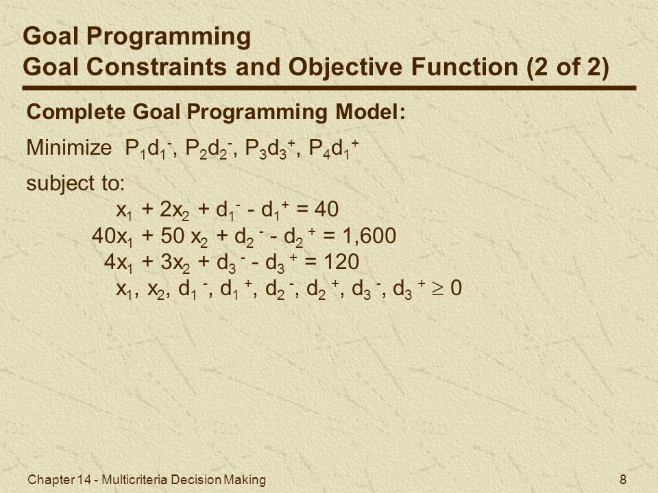 Goal Constraints and Objective Function (2 of 2)