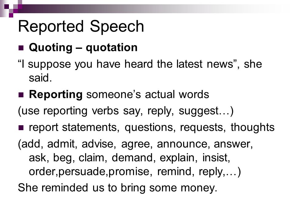 reporting words
