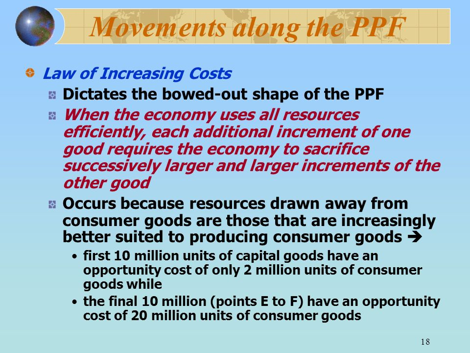 Movements along the PPF