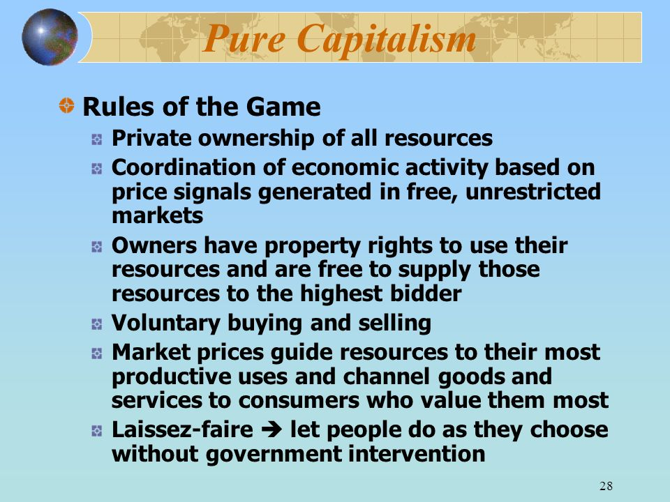 Pure Capitalism Rules of the Game Private ownership of all resources