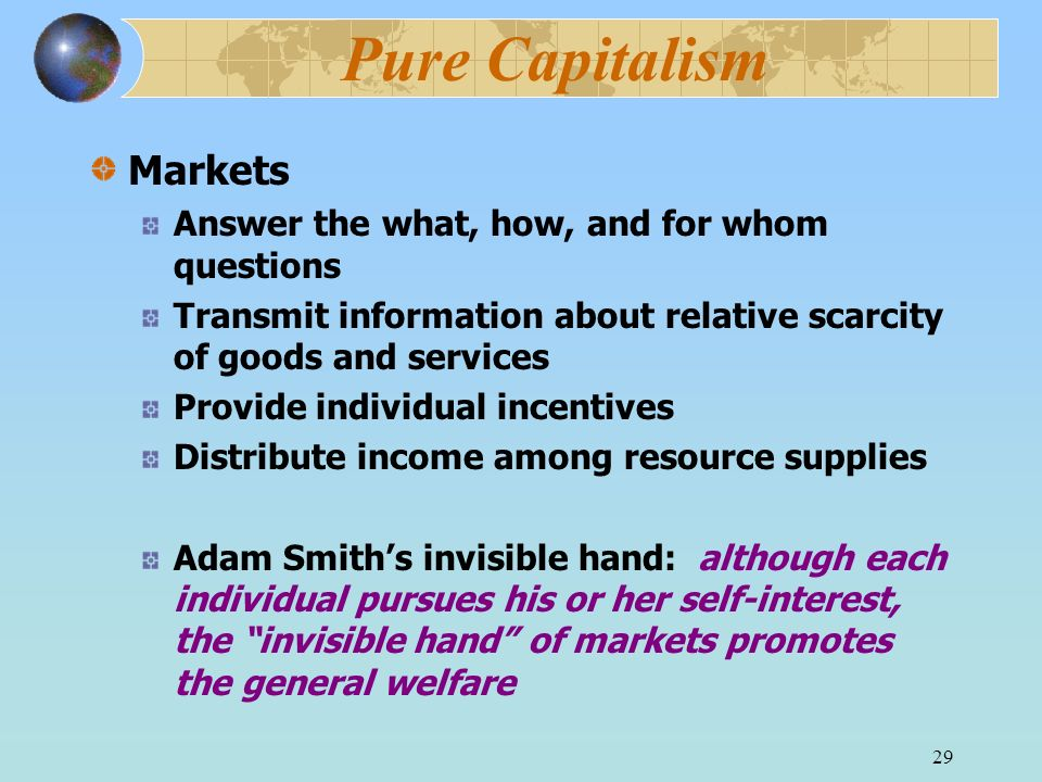Pure Capitalism Markets Answer the what, how, and for whom questions