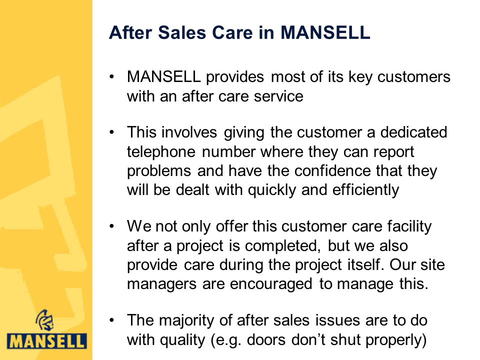 After Sales Care in MANSELL