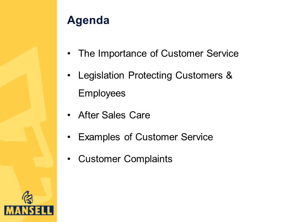 Agenda The Importance of Customer Service