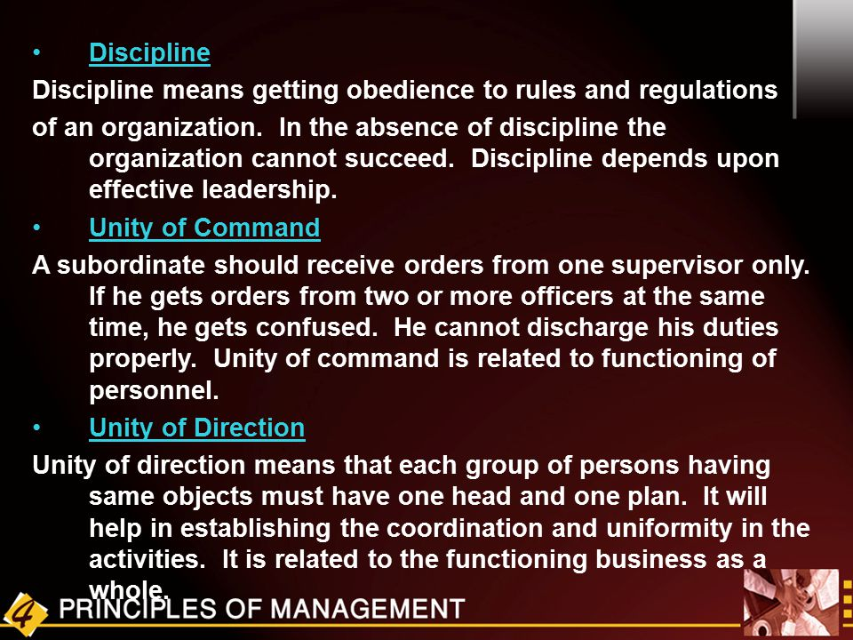 Discipline Discipline means getting obedience to rules and regulations.