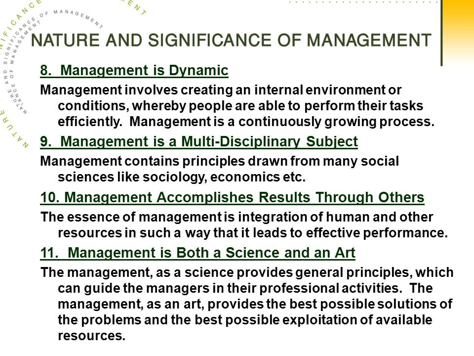 9. Management is a Multi-Disciplinary Subject