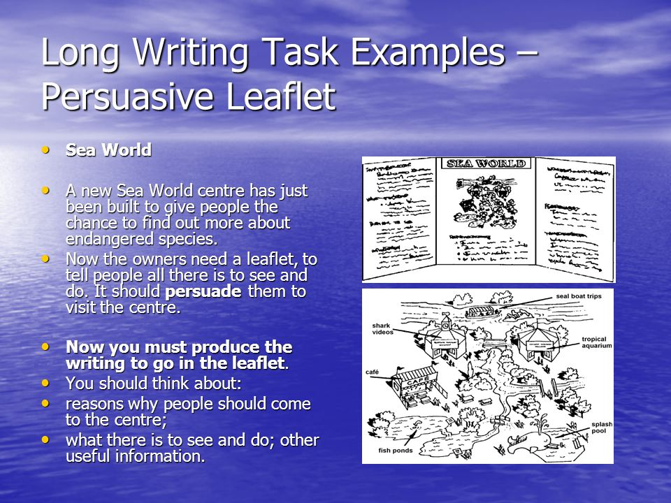 Long Writing Task Examples – Persuasive Leaflet