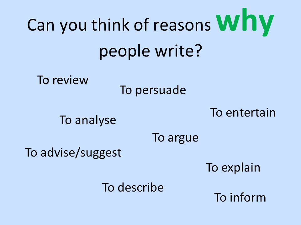 Can you think of reasons why people write