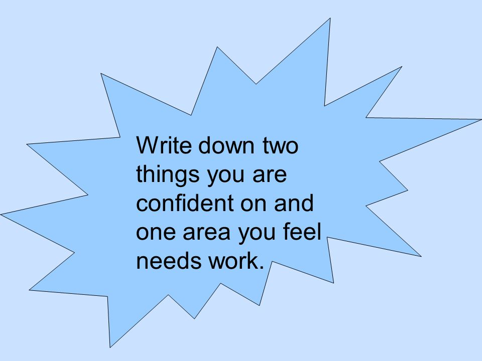Write down two things you are confident on and one area you feel needs work.