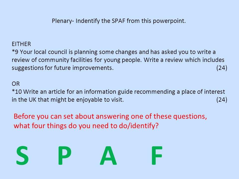 Plenary- Indentify the SPAF from this powerpoint.