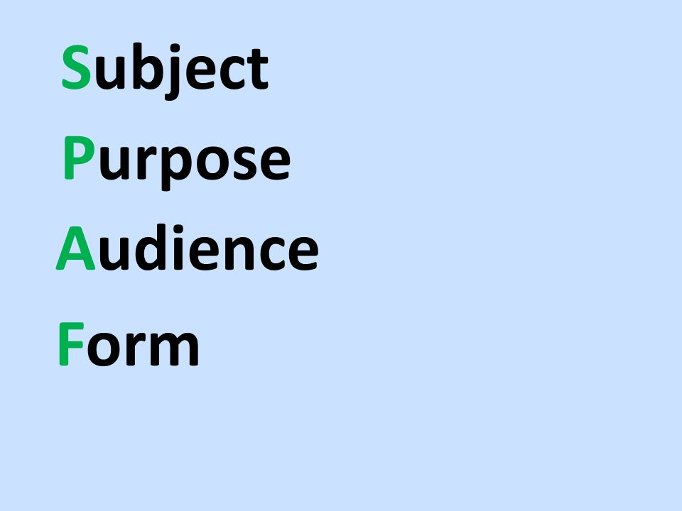 Subject Purpose Audience Form