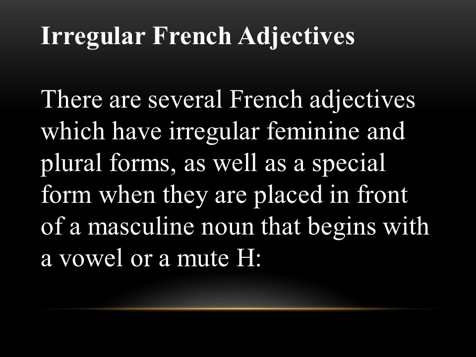 Irregular French Adjectives