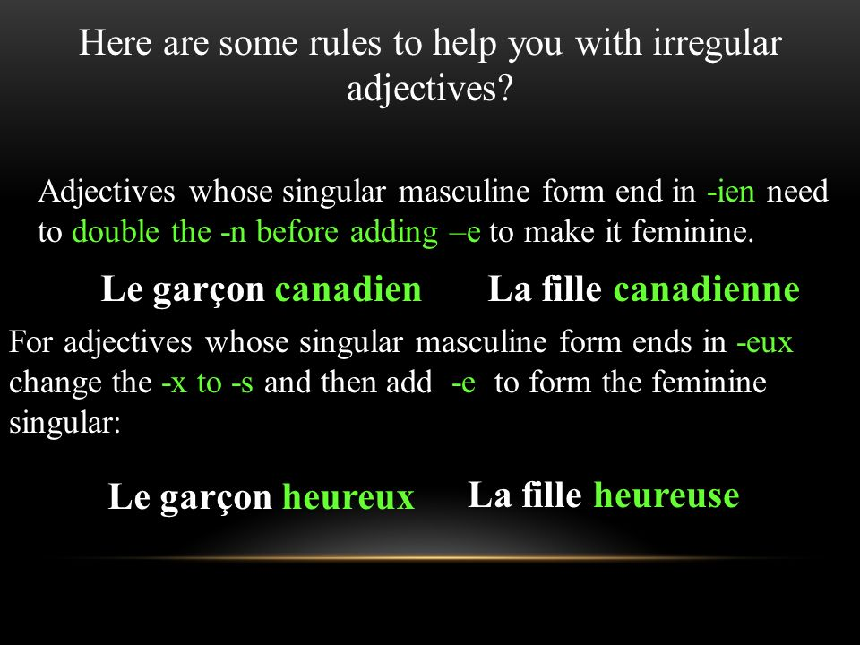 Here are some rules to help you with irregular adjectives