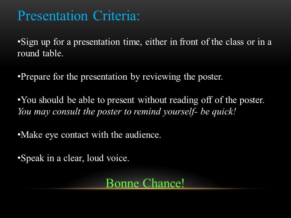 Presentation Criteria: