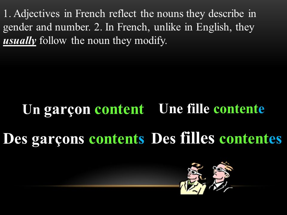 Les adjectifs en fran ais ppt video online download for Garcon french to english