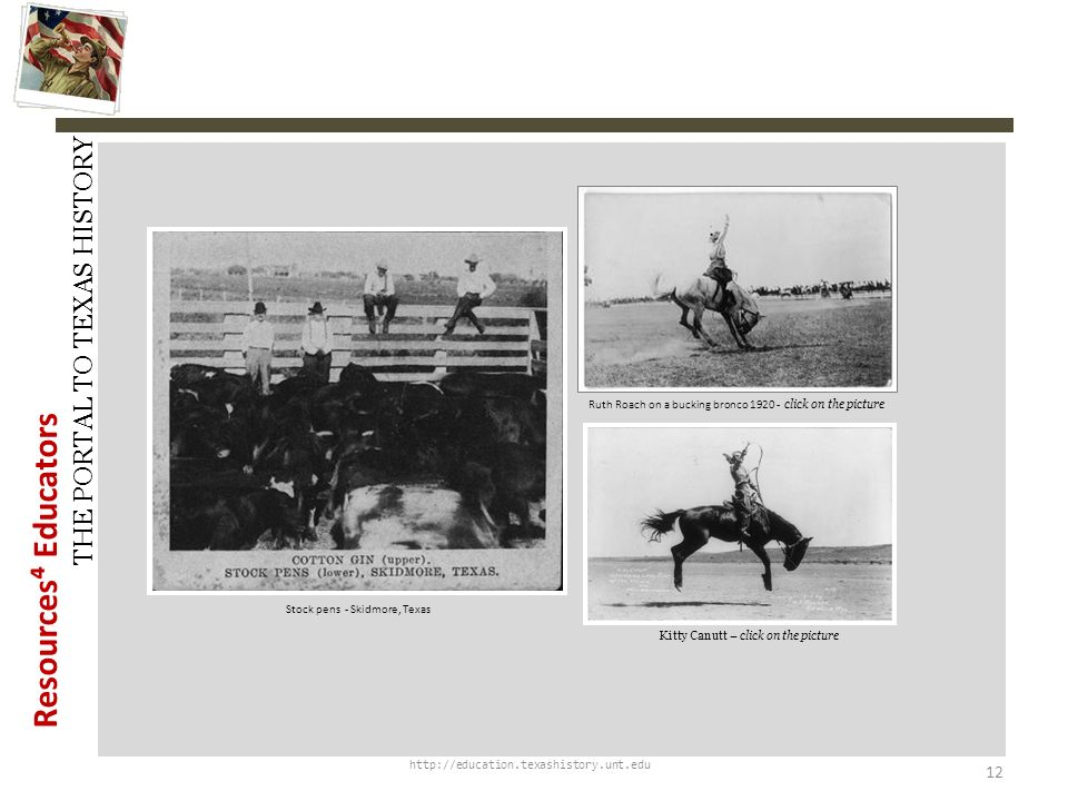 History Snapshots Ruth Roach on a bucking bronco 1920 - click on the picture. Stock pens - Skidmore, Texas.