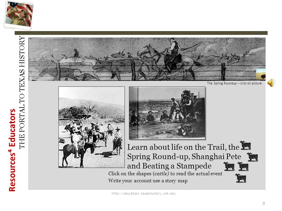 History Snapshots The Spring Roundup – click on picture. Learn about life on the Trail, the Spring Round-up, Shanghai Pete and Beating a Stampede.