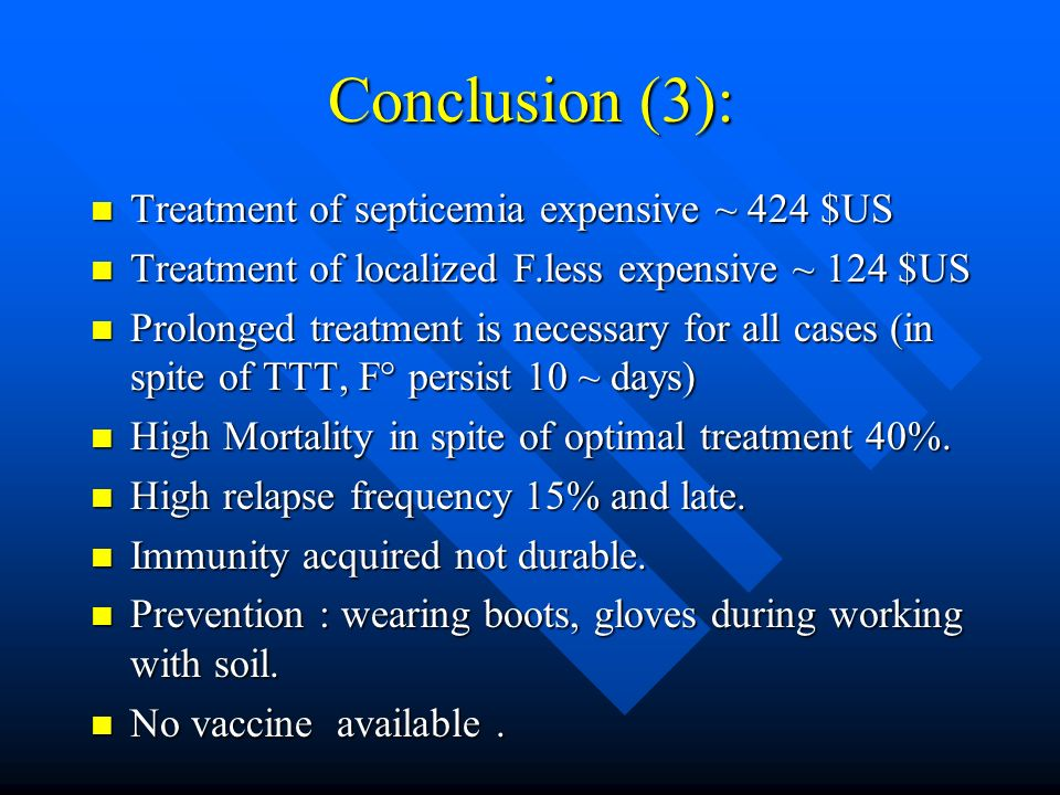 Conclusion (3): Treatment of septicemia expensive ~ 424 $US