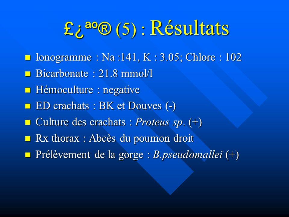 £¿ªº® (5) : Résultats Ionogramme : Na :141, K : 3.05; Chlore : 102