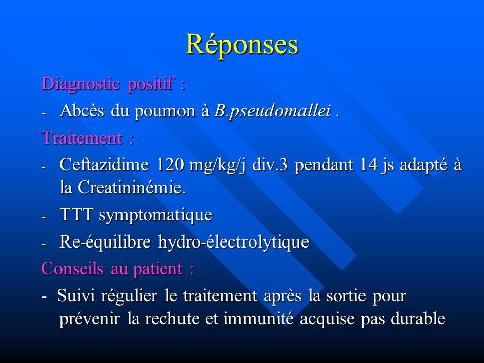 Réponses Diagnostic positif : Abcès du poumon à B.pseudomallei .
