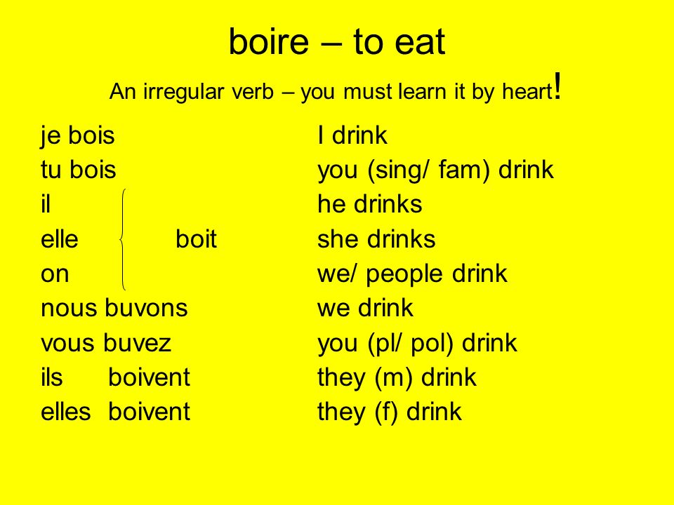 boire – to eat An irregular verb – you must learn it by heart!