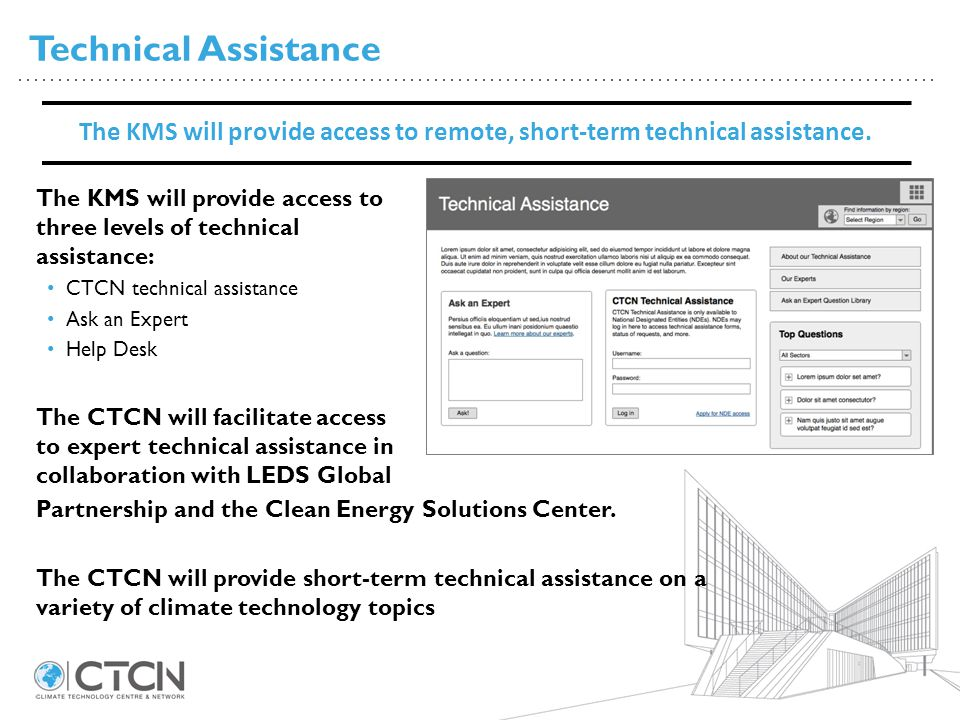 Technical Assistance The KMS will provide access to remote, short-term technical assistance.