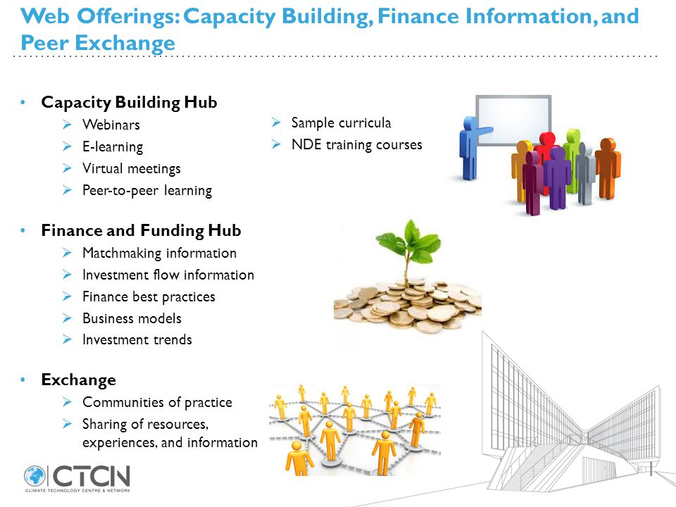 Web Offerings: Capacity Building, Finance Information, and Peer Exchange