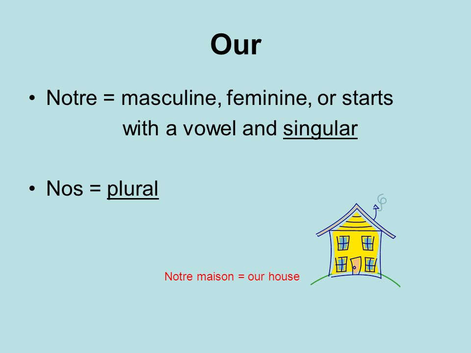 Our Notre = masculine, feminine, or starts with a vowel and singular