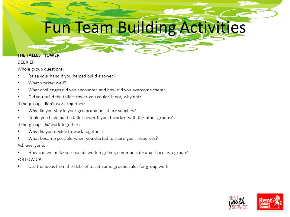 case studies on team building with questions A state department case study in project team building, constraints, competencies, conflicts, and the people side of change project team dynamics begin with the supporting organization, and proceed with human resource planning and communication planning prior to the project team acquisition.