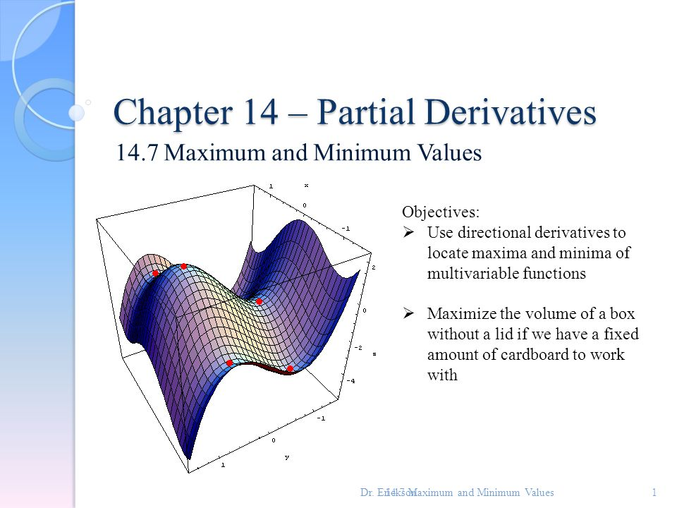 how to find local minimum of multivariable function