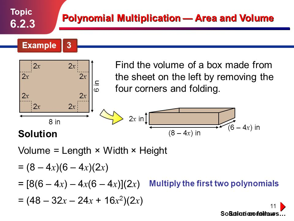 Multiply the first two polynomials