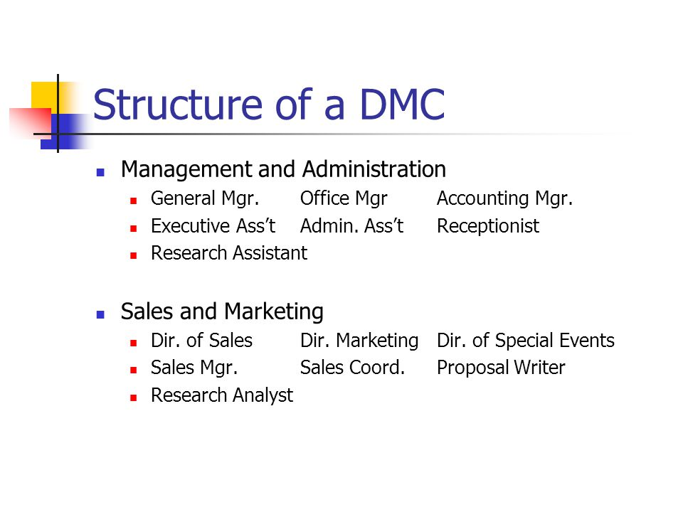 Structure of a DMC Management and Administration Sales and Marketing